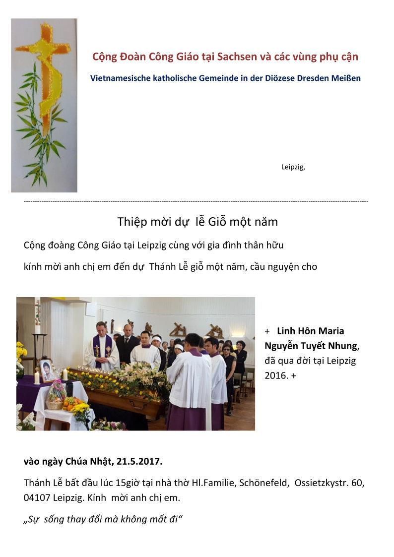 Cộng đoàn Công Giáo Sachsen mời dự lễ giỗ đầu Maria Nguyễn Tuyết Nhung (21.05.2017)