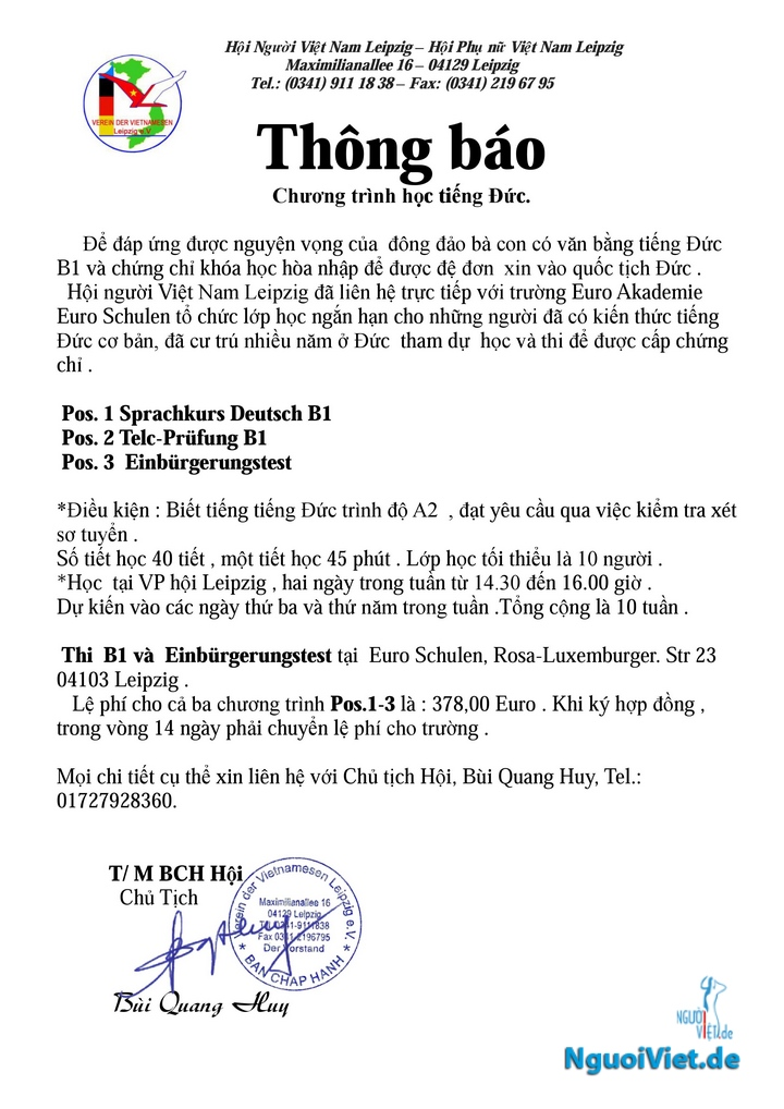 Mời đăng ký học lớp tiếng Đức B1 do Hội người Việt Leipzig tổ chức