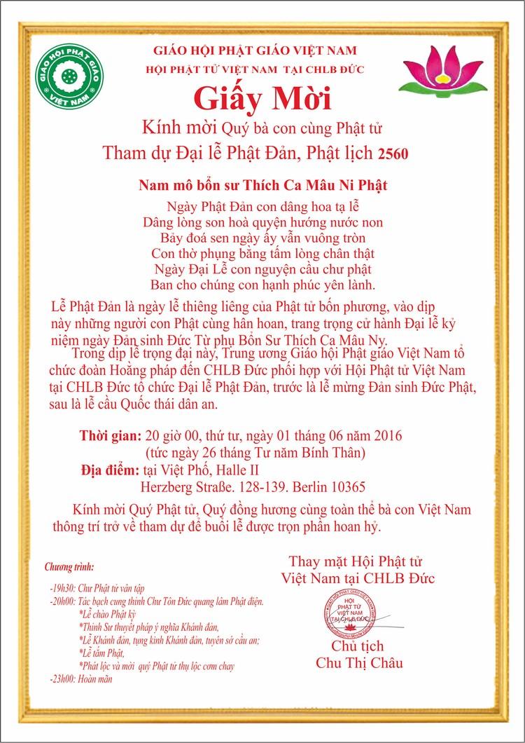 Hội PTVN tại Đức mời dự Đại lễ Phật Đản Phật lịch 2560 (01.06.2016)