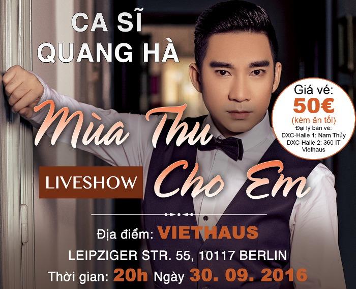 Đón xem: Liveshow Mùa Thu Cho Em với ca sĩ Quang Hà và khách mời (30.09.2016)