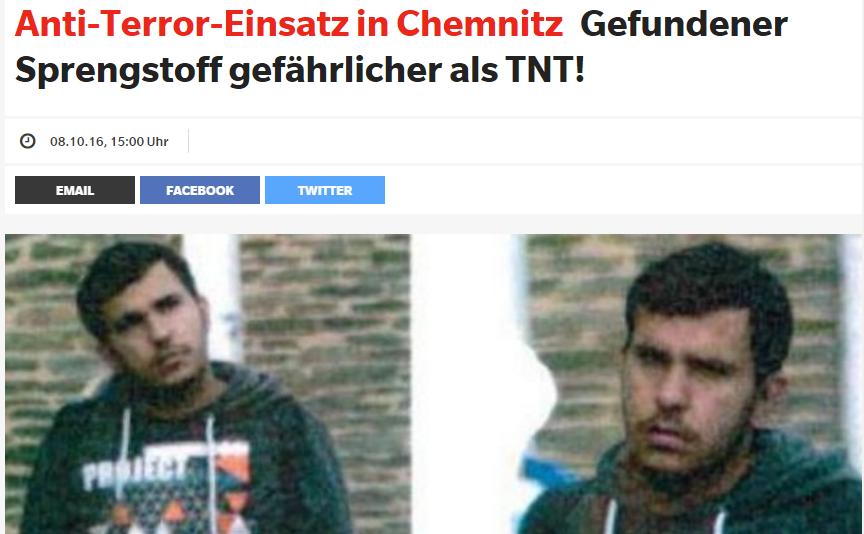 """Báo Đức viết """"Gefundener Sprengstoff gefährlicher als TNT!"""" nghĩa là: thuốc nổ tìm thấy còn nguy hiểm hơn là thuốc nổ TNT. Ảnh chụp màn hình express.de do NguoiViet.de thực hiện"""