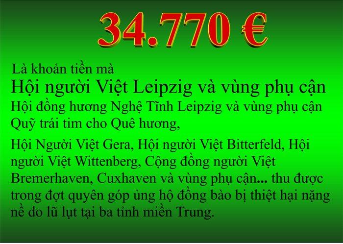 Thông báo của Hội người Việt Nam Leipzig về kết quả quyên góp ủng hộ đồng bào miền Trung