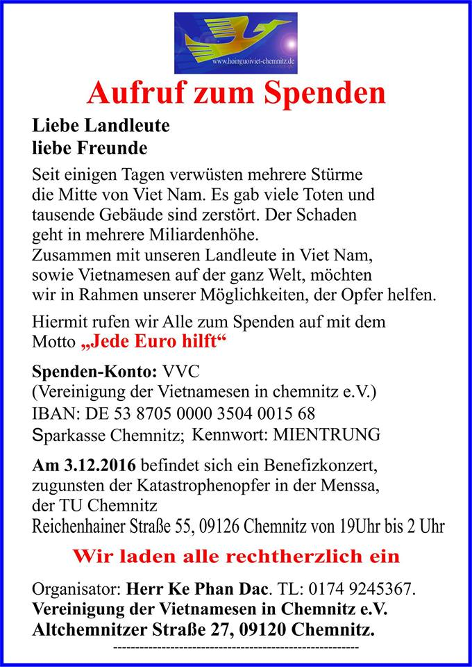 Hội người Việt Chemnitz kêu gọi ủng hộ đồng bào miền Trung - Aufruf zum Spenden