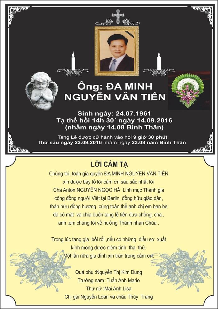 Lời cảm tạ của gia đình ông ĐA MINH Nguyễn Văn Tiến