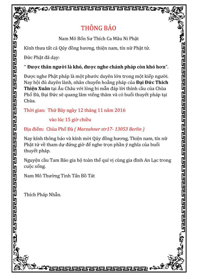 Thư mời dự thuyết pháp của ĐĐ Thích Thiện Xuân tại chùa Phổ Đà (12.11.2016)