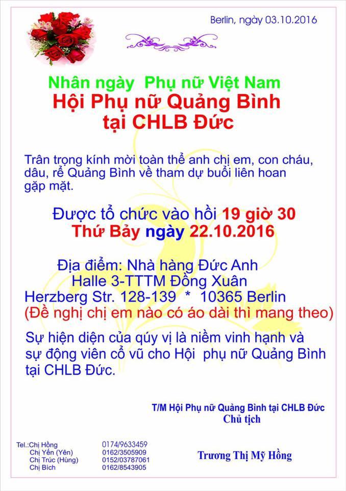 Hội Phụ nữ Quảng Bình mời dự kỷ niệm Ngày Phụ nữ Việt Nam (22.10.2016)
