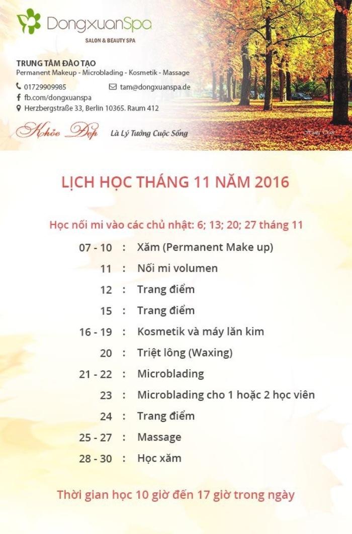 Lịch học tháng 11.2016 của Trung tâm DongxuanSpa