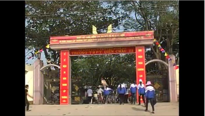 Trường PTTH Diễn Châu 3, Nghệ An. (Ảnh trích từ Clip)