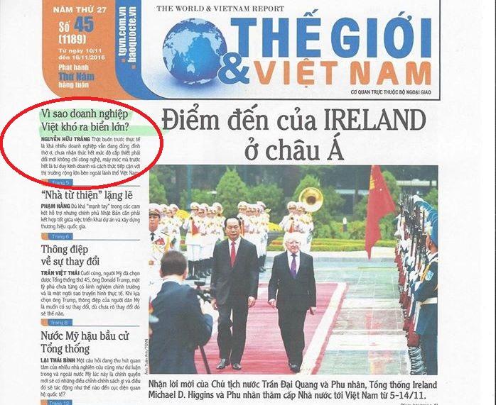 Trang nhất báo in Thế giới và Việt Nam số 45 (1189) ra ngày 10.-16.11.2016 (Bài liên quan ở vùng khoang màu đỏ).