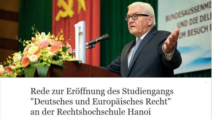 Ngoại trưởng Đức Steinmeier thuyết trình tại Đại học Luật Hà Nội. Ảnh chụp màn hình FBNV do NguoiViet.de thực hiện.
