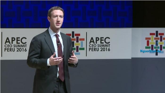 Mark Zuckerberg phát biểu tại Diễn đàn APEC 24 ngày 19.11.2016. Ảnh chụp màn hình: Lương Đình Cường - NguoiViet.de