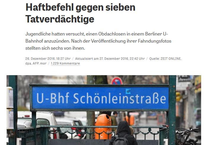 Ảnh chụp màn hình báo Đức Zeit Online do NguoiViet.de thực hiện