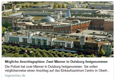 Trung tâm mua sắm Centro. Ảnh chụp màn hình báo Đức tagesschau.de do NguoiViet.de thực hiện.
