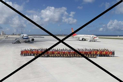 Trung Quốc xây dựng trái phép sân bay quân sự trên đảo Chữ Thập của Việt Nam. Hình minh họa: Internet.