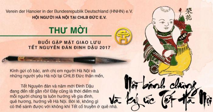 Hội Người Hà Nội tại CHLB Đức mời giao lưu đón Tết Đinh Dậu (21.01.2017)