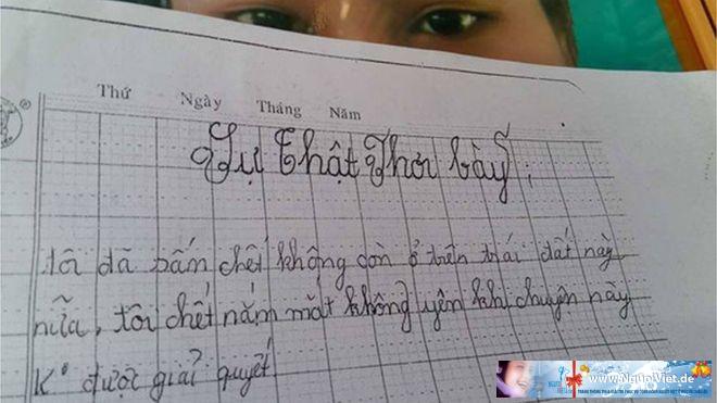 Những dòng thư bé K. để lại trước khi tự tử