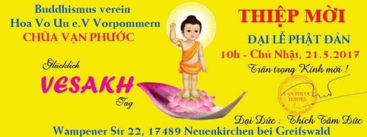 Chùa Vạn Phước tại CHLB Đức mời dự Đại Lễ Phật Đản PL 2561 (21.05.2017)