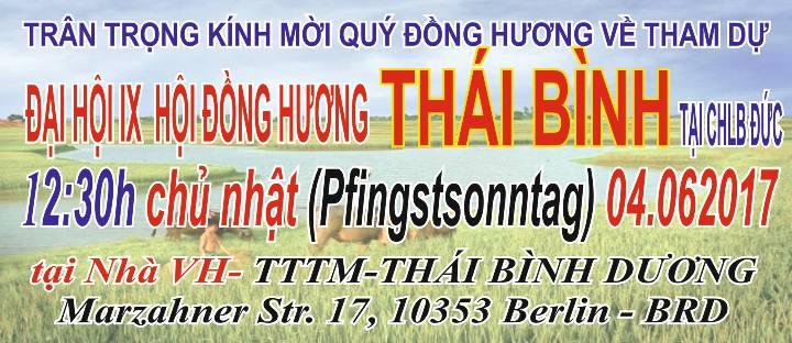 Thư mời tham dự Đại hội IX Hội Đồng hương Thái Bình tại CHLB Đức (04.06.2017)