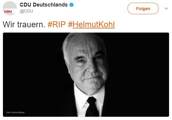 Thông tin về việc ông Helmut Kohl qua đời  trên trang twitter của đảng CDU