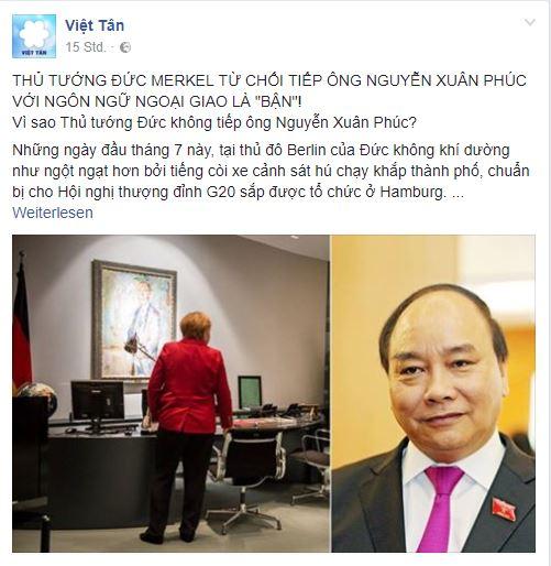 Trên Thoibao.de xuất hiện bài viết tiêu cực về chuyến thăm Đức của Thủ tướng. Bài viết được nhiều trang mạng xã hội trong và ngoài nước trích đăng lại. Ảnh chụp màn hình FB Việt Tân.
