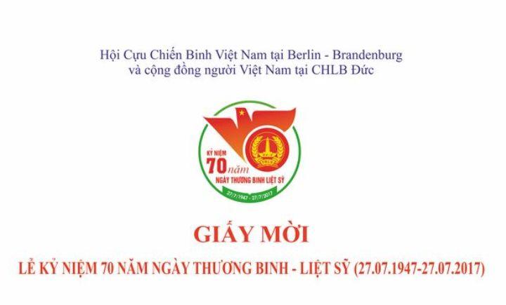 Thư mời  tham dự Lễ kỷ niệm 70 năm ngày Thương binh - Liệt sĩ (23.07.2017)