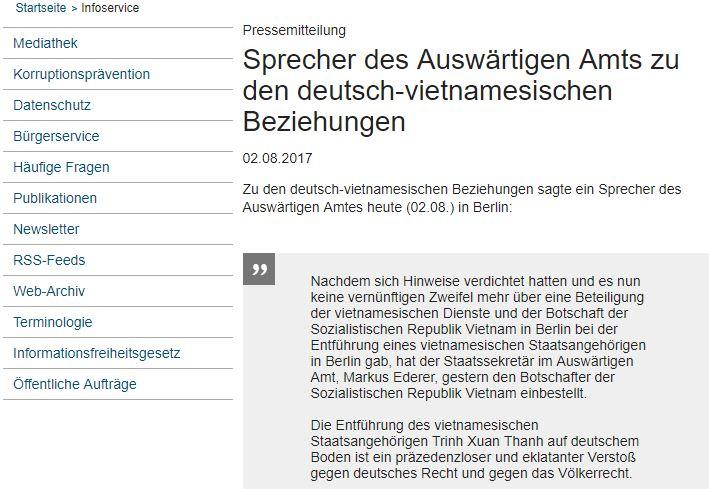 Ảnh chụp màn hình thông cáo được đăng trên trang mạng của BộNgoại giao Đức do NguoiViet.de thực hiện.