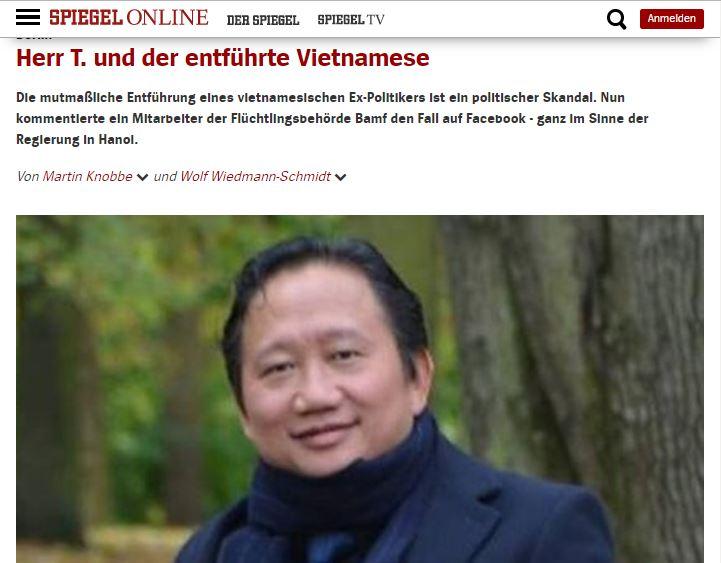 Ảnh chụp màn hình báo spiegel.de do NguoiViet.de thực hiện