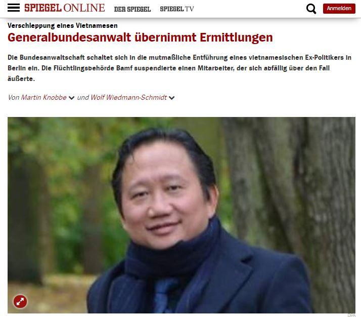 Ảnh chụp màn hình từ báo spiegel.de ngày 10.08 do NguoiViet.de thực hiện