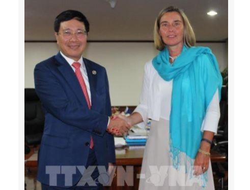 Phó Thủ tướng, Bộ trưởng Ngoại giao Phạm Bình Minh gặp bà Federica Mogherini, Đại diện cấp cao về chính sách đối ngoại và An ninh EU. Ảnh: TTXVN
