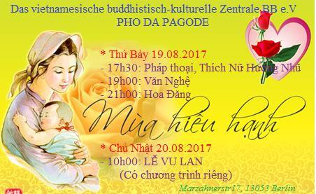 Thư mời dự Đại Lễ Vu Lan tại Chùa Phổ Đà vào ngày 19&20.08.2017