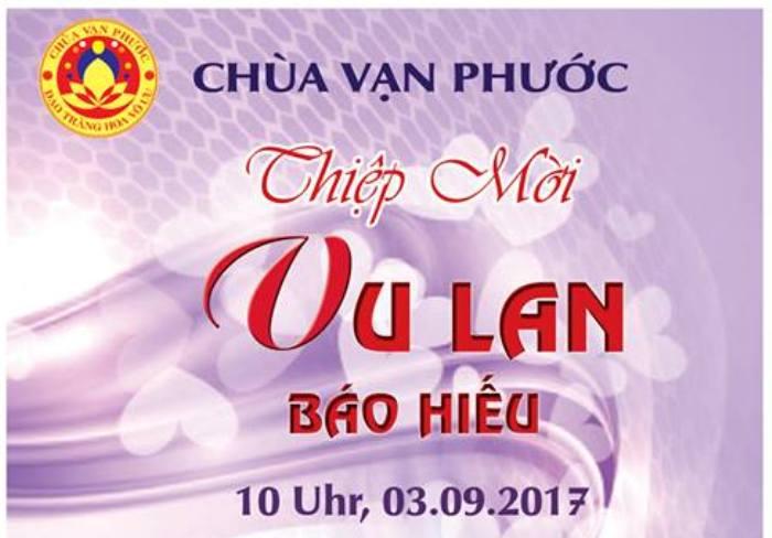 Thư mời dự Đại Lễ Vu Lan tại Chùa Vạn Phước vào ngày 03.09.2017