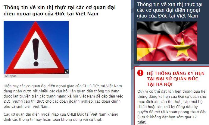 Ảnh chụp màn hình trang mạng của ĐSQ Đức tại Việt Nam do NguoiViet.de thực hiện.