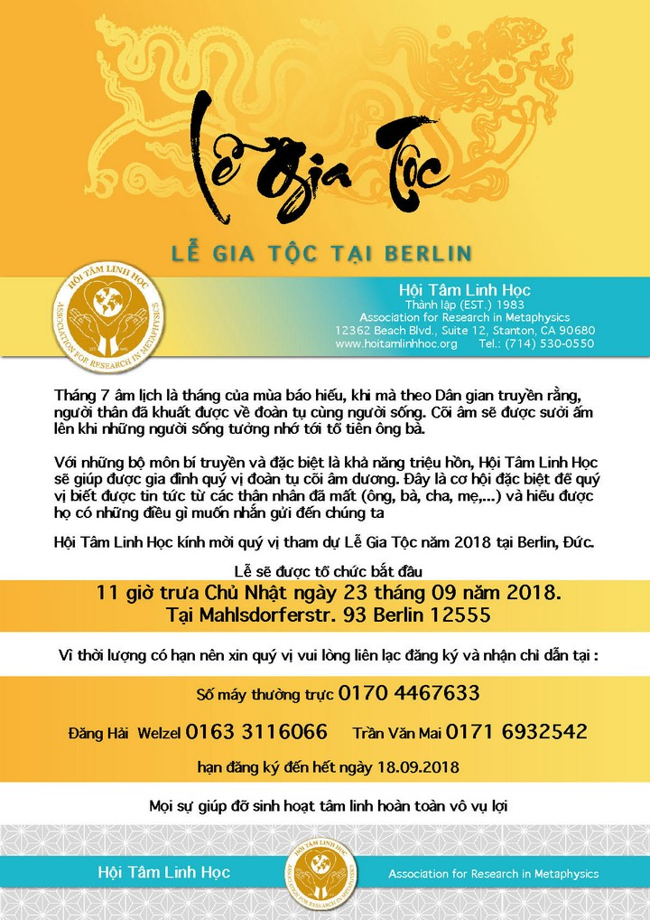 Thư mời tham dự Lễ Gia Tộc tại Berlin (23.09.2018)