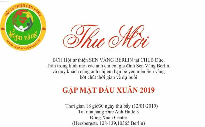 Hội Từ thiện SEN VÀNG BERLIN mời dự Gặp mặt đầu Xuân 2019