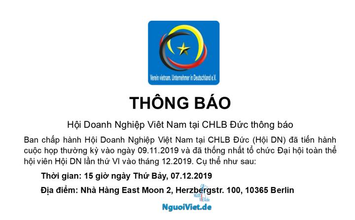 Hội Doanh Nghiệp Viêt Nam tại CHLB Đức mời dự Đại hội lần thứ VI (07.12.2019)