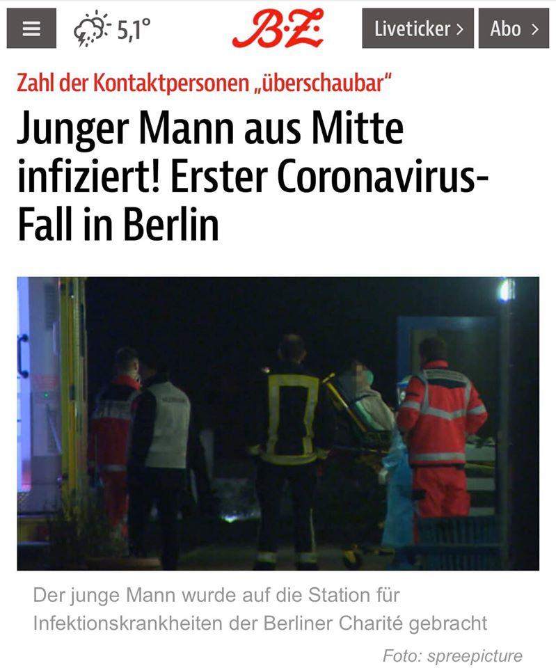 Chàng trai trẻ được tiếp nhận vào bệnh viện Charité. Nguồn: Berliner Zeitung