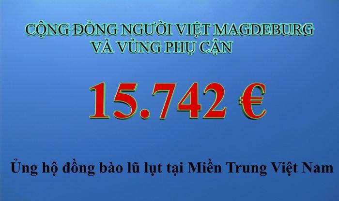Người Việt vùng Magdeburg, CHLB Đức ủng hộ Miền Trung 15.742 Euro